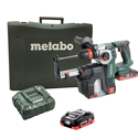 "Metabo 1"" SDS Rotary Hammer w Dust Extractor, 18 V w/ (2) batteries."